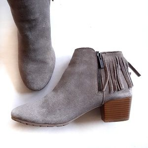 Kenneth Cole Gray Suede Fringe Pilates Booties